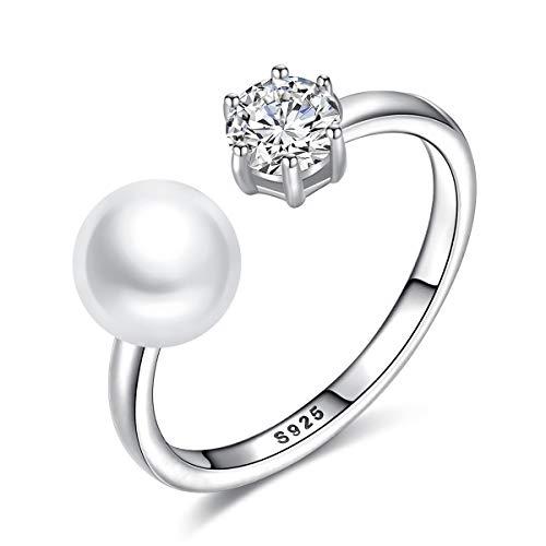 Esberry - Anello in argento Sterling 925, con perla d'acqua dolce naturale e zirconi, regolabile, idea regalo per donne e Argento, regolabile, colore: bianco, cod. S10