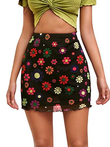 Verdusa Women's Floral Mesh Overlay Elastic Waist Bodycon Mini Skirt Floral Black S
