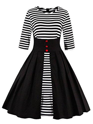 VKStar Retro Herbst Abendkleid/Cocktailkleid mit Streifen Vintage 50er Rockabilly Swing Audrey...