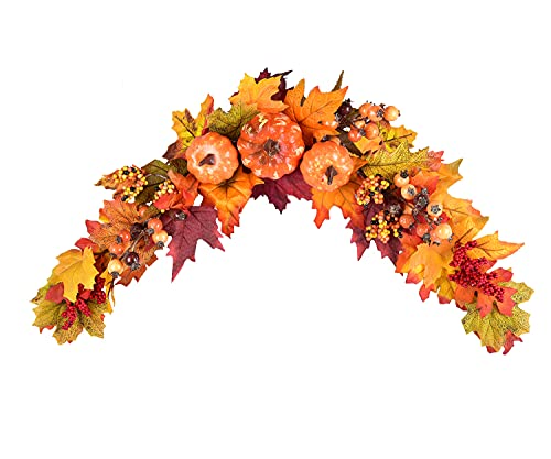 Artificial Pumpkin and Leaf Swag.  Lovely over a door or picture.