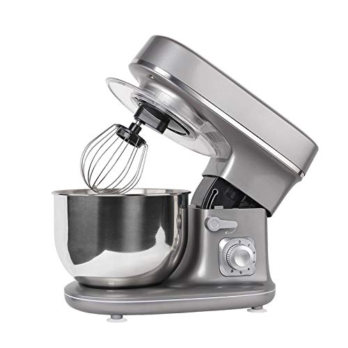 Molino Stand Mixer 1300 Watt Silber - Küchen- und Knetmaschine mit Doppelten Knethaken, Rührbesen, Knethaken, Schlagbesen, Spritzschutz, 6 Geschwindigkeit mit Edelstahlschüssel Teigmaschin