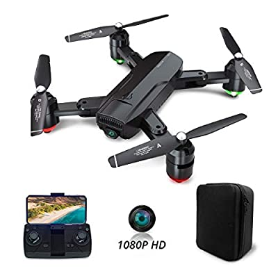 Dragon Touch Foldable GPS Drones for Adults, FPV Camera Drone HD 1080P Live Video with Background Music, Auto Return Home, Follow Me, Tap Fly, RC Drone Quadcopter with Modular Battery& Carrying Case