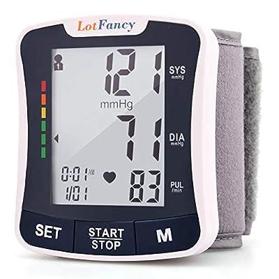 "LotFancy Wrist Blood Pressure Monitor Cuff, 2Users, 120 Reading Memory, Manual Blood Pressure Cuff (5.3""-8.5""), Digital Blood Pressure Monitor with Large Screen,Digital Sphygmomanometer for Home Use"
