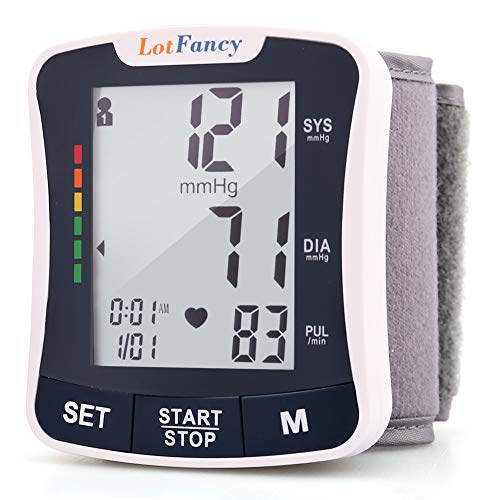 "LotFancy Wrist Blood Pressure Monitor Cuff, 2 Users, 120 Memory, BP Wrist Cuff (5.3""-8.5""), Automatic Digital BP Monitor with Large Screen for Irregular Heart Beat Detection, Case Included"