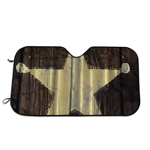 Southwestern Primitive Rustikale Holz Lone Star Sheriff Abzeichen Sonnenschutz Für Standardgröße Windschutzscheibe Protector Car Interior Hitzeschild Keep Cool 51×27.5 Zoll