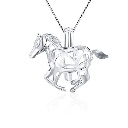 LGSY Sterling Silver Horse Pearl Cage Pendants for Women, Design Pearl Cage Pendants for Pearl Jewelry Making, Essential Oil Diffuser Lockets for Pearl Jewelry