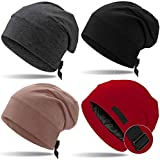 4 Pieces Satin Lined Sleep Cap for Men Adjustable-Designed Sleeping Hair Satin Lined Bonnet Hair Cover (Black, Camel, Wine Red and Dark Gray)