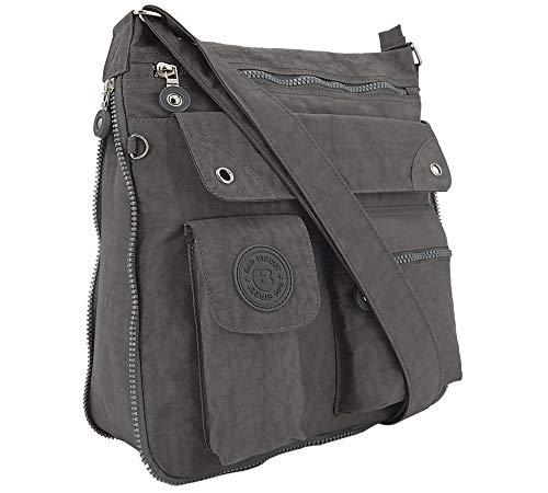 ekavale - leichte Damen-Umhängetasche - Praktische Crossbody-Handtasche - mit vielen fächern - Schultertasche | wasserabweisende Damentasche (Grau)