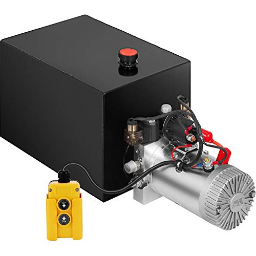 Mophorn 20 Quart Hydraulic Power Unit Double Acting Hydraulic Dump Trailer Pump (12V DC Double Action Powering Unit, SAE #6 Ports, 3200 PSI, 20 Quart Steel Reservoir)