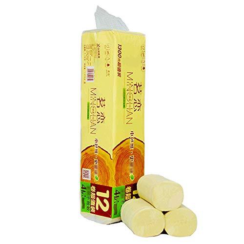 Qkiss12 Rollen Toilettenpapier aus Zellstoff, glattes, weiches Premium-Toilettenpapier der Professional-Serie der Serie, Mega-Rollen der Familie mit hoher SaugfähigkeitIdeal für den Waschraum