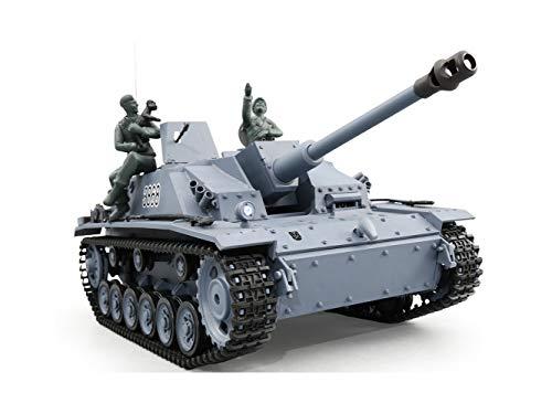 ES-TOYS RC Panzer Sturmgeschütz III - Stug 3 Heng Long 1:16 Grau, Rauch&Sound, Metallgetriebe und 2,4Ghz -V 5.3