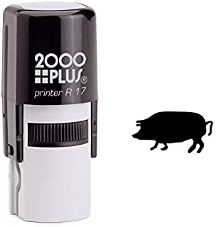 Cosco Round Pig Self Inking Rubber Stamp - Black Ink