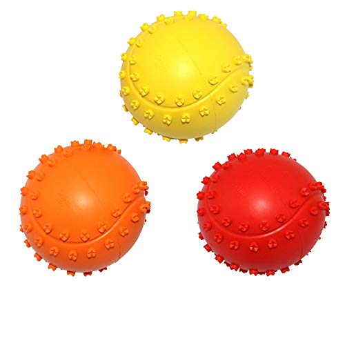 Kei Tomlison Rubber Dog Chewing Squeaky Ball Toys Fetch Play Toy for Puppy Small Medium Pets Dog Cat Pack of 3