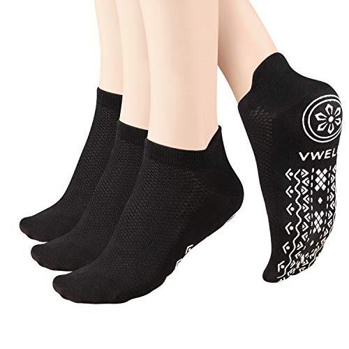 VWELL Non-Slip Yoga Socks Anti-Skid Socks Ankle Cushioned Fitness Socks with Grips, Yoga, Ballet, Pilates, Dance, hospital, Barefoot Workout Size 5-11
