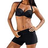 Conjunto de Mujeres Tankini con pantalón Bikini Conjunto de Trajes de baño Push Up Sujetador con Relleno Acolchado Panskirt Bañador Deportivo Cuello Alto Traje de Baño de Una Pieza para 2019 Moda