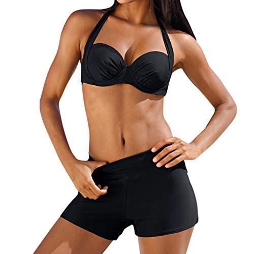 OIKAY Frauen Tankini Sets Zweiteiler Bikini Sets mit Surfen Kurze Shorts Bademode gepolsterte Tankini Set Sportlich mit Boy Shorts Bikini Badeanzug Bademode Baden