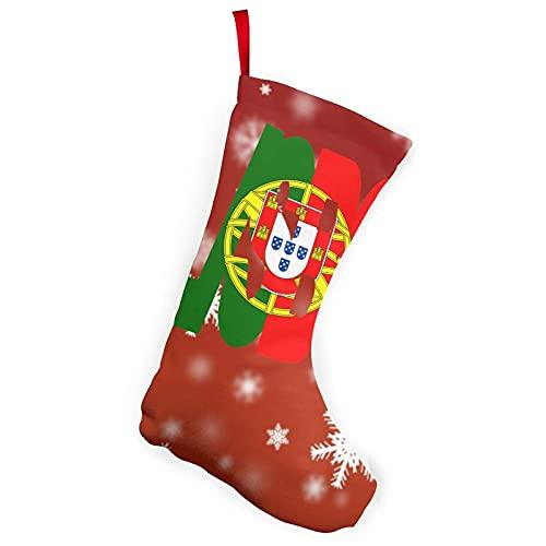 Weihnachtsstrümpfe mit US-Flagge, 25,4 cm, Lissabon-Text mit portugiesischer Flagge