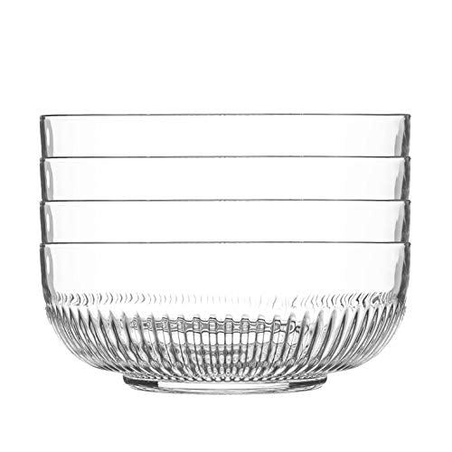 Argon Tableware 4 Piece Large Campana Glass Serving Bowls Set - Vintage Clear Kitchen Mixing Snack Bowl Dishes - 23cm