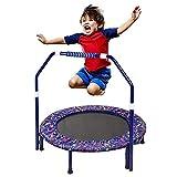 Trampolin Kinder, Faltbares Fitness Kindertrampolin Indoor Outdoor, 36 Zoll Jumping Trampolin mit Verstellbarer Handlauf, für Jungen Mädchen ab 2 3 4 Jahren belastbar bis 60 kg (01)