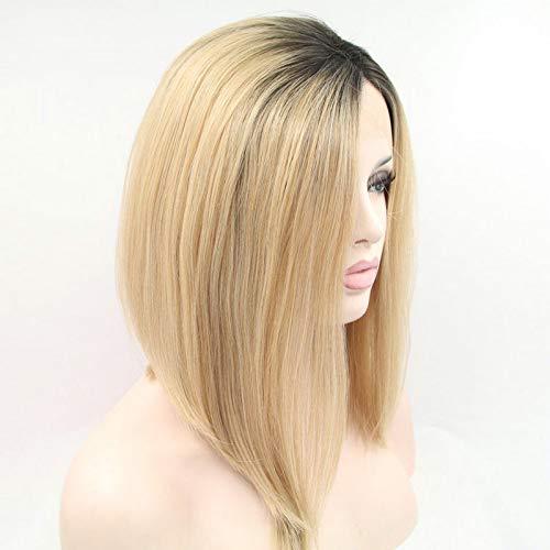 Pelucas cortas de cabello natural rubio pastel Ombre sintético, pelucas frontales de encaje para Drag Queen pelo de Bob recto con raíces oscuras, peluca completa de repuesto de 14 pulgadas
