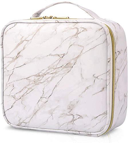 Joligrace Neceser Maquillaje Bolsa de Maquillaje Cosméticos Portátil Neceser Beauty Case de Viaje Estuche Maquillaje Profesional Cuero de PU (Blanco)
