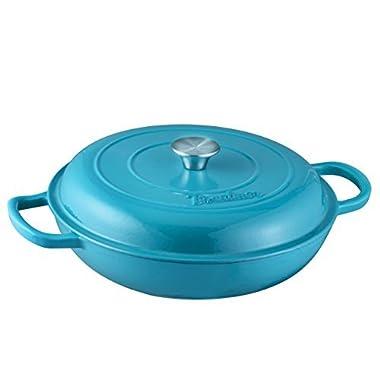 Enameled Cast Iron Casserole Braiser - Pan with Cover, 3.8-Quart, Marine Blue