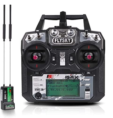 Flysky Fs i6X Radiocomando rc trasmettitore Radio 10 Canali 2.4GHz Protocollo AFHDS 2A con Flysky Ricevente ia6b RC Ricevitore Receiver for Drone Quadcopter by LITEBEE (Mode 1 Acceleratore a Destra)
