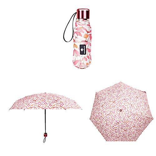Parasol Parapluie Petit Anti-UV Mode Mini Parapluie Pluie Femmes Cadeau Pliant Poche Parasol Filles Étanche Portable Voyage Parapluies Rose