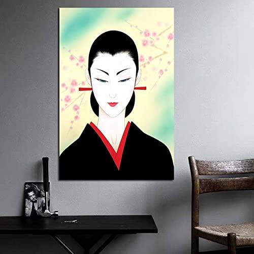 DIY Dipingere con i numeri Pittura giapponese sakura opera d'arte donna che decora un regalo unico dipinto di numeri per adulti su tela Con pennello e vernice acrilica pe40x60cm(Nessuna cornice)