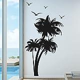 Palm Coconut Tree Nursery Wall Decal with Seagull Birds (3 Trees) #1132 (7 Feet Tall)