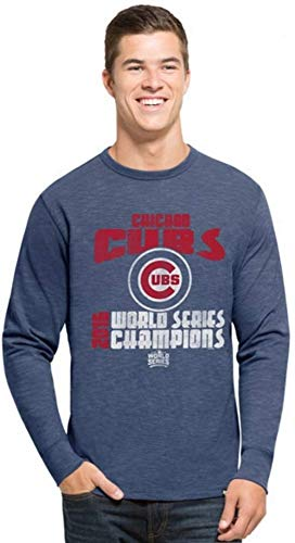 Chicago Cubs 2016 World Series Champions Long Sleeve Scrum T-Shirt Small Blue
