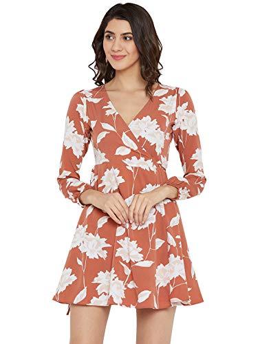 Berrylush Brown Printed Wrap Dress for Women