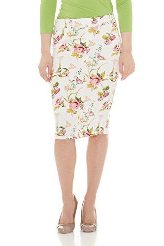 ESTEEZ Jean Pencil Skirt for Women Knee Length Brooklyn White Floral 18