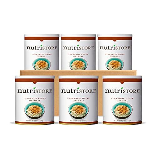 Nutristore Cinnamon Oatmeal 6-Pack   Premium Freeze-Dried Variety Meals   Bulk Emergency Food Supply   Breakfast, Lunch, Dinner   MRE   Long Term Survival Storage   25 Year Shelf Life (6 Pack)