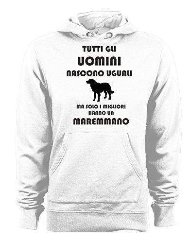 t-shirteria Felpa con Cappuccio Tutti Gli Uomini Nascono Uguali ma Solo i Migliori Hanno Un maremmano - Cani - Dog - Humor