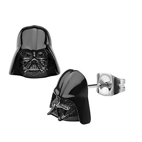 Star Wars Darth Vader pendientes del perno prisionero de 3D Ip negro acero inoxidable 316L