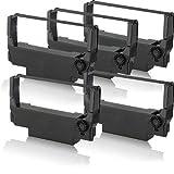 5x Cinta compatible - Banda de nylon negro para Epson ERC 38B TM300D TM300PD TM3000 TM375 TM-U200 TM-U200A TM-U200D TM-U210A TM-U210B TM-U210D TM-U210R ERC38 ERC-30