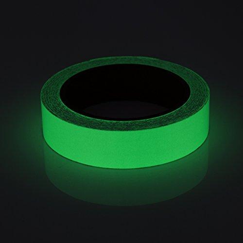 Cinta Luminosa Adhesiva, Meersee 2.5cm x 10M Cinta Autoadhesiva Etiqueta de Seguridad Resplandor Luminoso Fluorescente Verde ✅