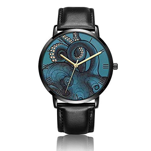 Relojes Anolog Negocio Cuarzo Cuero de PU Amable Relojes de Pulsera Wrist Watches Pulpo y Nave