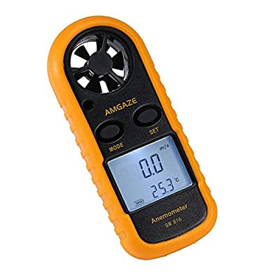 Amgaze Digital Anemometer LCD Wind Speed Gauge Handheld Air Flow Velocity Measurement Thermometer Device for RC Drones Helicopter Windsurfing Kite Flying Sailing Surfing Fishing (Battery Included) from Amgaze