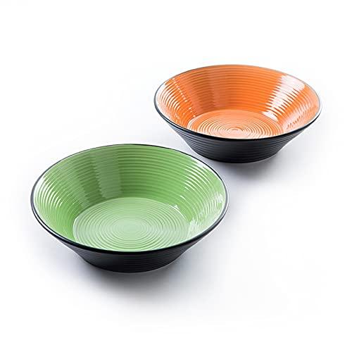Deagourmet Botella Color ensaladeras, DE cerámica, Color Negro/Naranja, Verde, 0