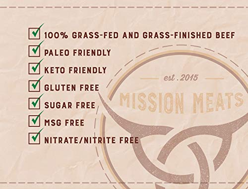 Health Shopping Mission Meats Keto Sugar Free Grass-Fed Beef Snacks Sticks Non-GMO Gluten Free MSG