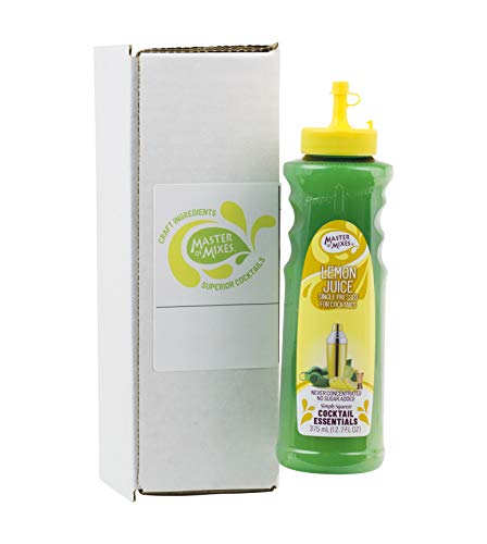 Master of Mixes Cocktail Essentials Single Pressed Lemon Juice, 375 ML Bottle (12.7 Fl Oz), Individually Boxed