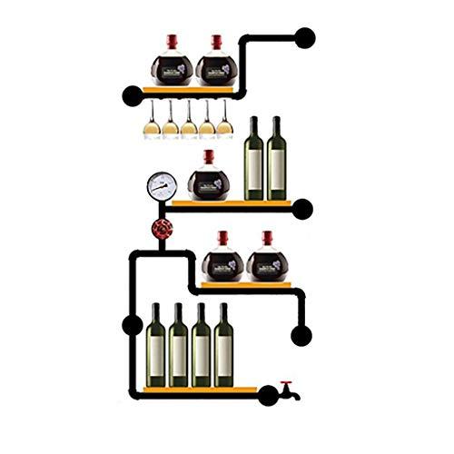 CDBL Botellero Parrilla Industrial Vintage Loft Rejilla De Manguera De Madera De Hierro Forjado Botellero De Pared Portavasos Rejilla De Cristalería Enfriador De Vino Los 75 * 20 * 145cm