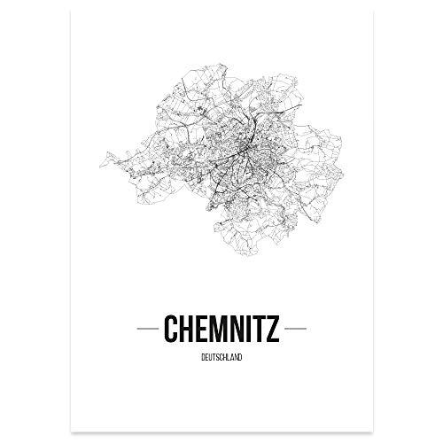 JUNIWORDS Stadtposter, Chemnitz, Wähle eine Größe, 21 x 30 cm, Poster, Schrift B, Weiß