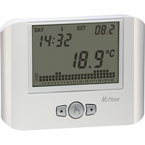 Vemer Cronotermostato da parete VE328100 MITHOS bianco a programmazione settimanale 3 livelli di temperatura impostabili durante l arco della giornata Alimentazione 1 batteria 1,5V Funzionamento estate inverno Cambio automatico ora solare legale