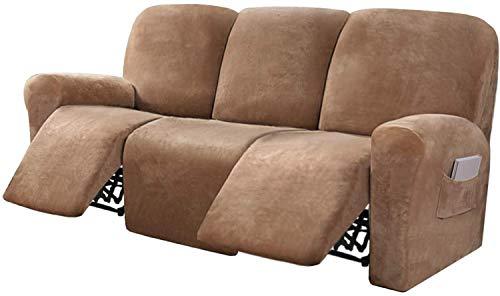 HYLDM Funda de sofá reclinable de Terciopelo elástico de 8 Piezas Fundas de sofá reclinables para Muebles de sofá de 3 plazas Fundas para sillón reclinable con Bolsillo Lateral, Ajuste s