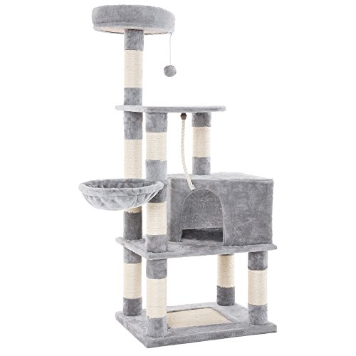 FEANDREA Cat Tree with Scratching Posts, Cat Tower with Condo and Basket, Kitten Furniture Activity Centre, Plush and Light Grey PCT60W