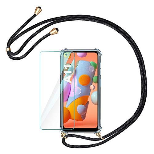 AROYI Handykette Handyhülle & Panzerglas Schutzfolie kompatibel mit Samsung Galaxy A11 mit Samsung Galaxy M11 Hülle mit Kordel zum Umhängen Necklace Hülle mit Band Transparent Hülle Schwarz Gold