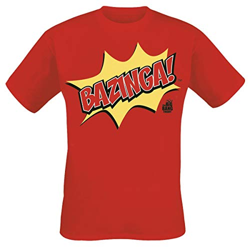 The Big Bang Theory Bazinga! Männer T-Shirt rot L 100% Baumwolle Fan-Merch, TV-Serien